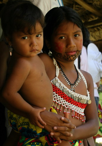 "©2013 The Amusing Muse - ""Strike a Pose"", Embera Indian children earning tip money, Gutun Lake, Colon, Panama"