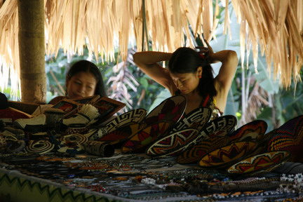 ©2013 The Amusing Muse - 2/14/2013, Embera Indians prepared to sell their wares, Gatun Lake, Colon, Panama