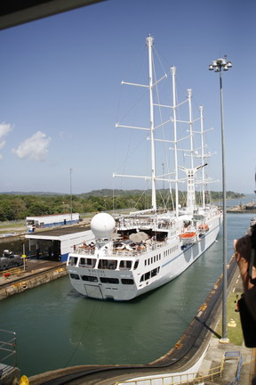 "©2013 The Amusing Muse - 2/14/2013, Windstar Cruises ""Wind Star"" going through the locks, Colon, Panama"
