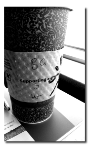 """Coffee Shorthand"", taken on my Android, edited with  the Photo Editor app."