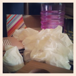 The #reality of #seasonal #allergies. Mountain of tissues.