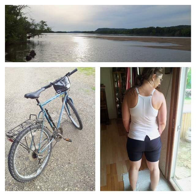 Sunset at the River, my trusty steed - only 22 years old, and... hey - my butt looks pretty good in padded cycling shorts!