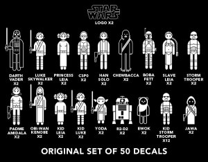 So many decals to choose from yet... always with the Luke and Leia. via thinkgeek.com