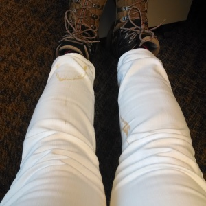 What's that on your white jeans, Sarah?  Oh... just my morning coffee.